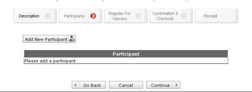 participant registraiton